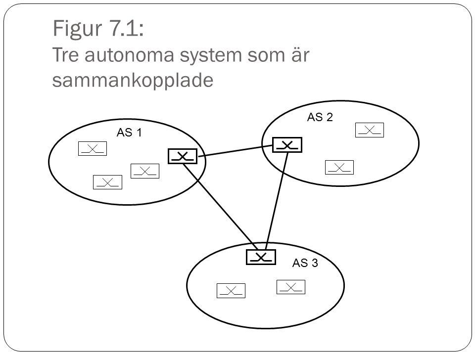 Figur 7.2: Olika routingprotokoll Routingprotokoll IntradomainInterdomain Distance VectorLink statePath vector RIPIGRPOSPFIS-ISBGP