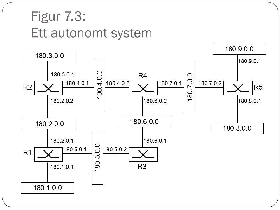 Figur 7.4: Områden inom ett automomt system Nät Backbone area (area 0) Nät Area 1 Nät Area 2 Area border router Internal router Backbone router AS boundary router