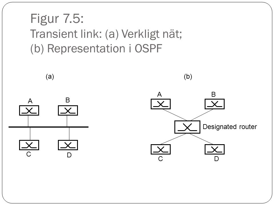 Figur 7.6: Stub link: (a) Verkligt nät; (b) Representation i OSPF A (a) A (b) Designated router