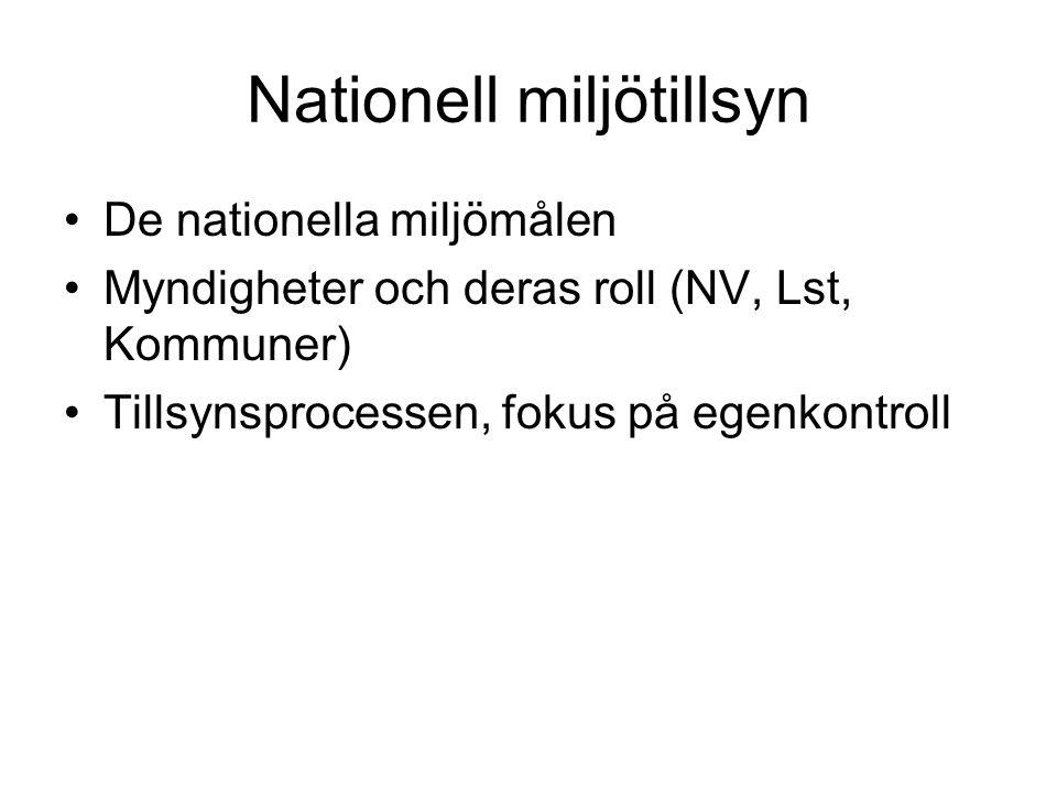 Nationell miljötillsyn De nationella miljömålen Myndigheter och deras roll (NV, Lst, Kommuner) Tillsynsprocessen, fokus på egenkontroll