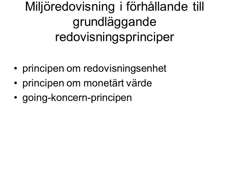 Miljöredovisning i förhållande till grundläggande redovisningsprinciper principen om redovisningsenhet principen om monetärt värde going-koncern-principen