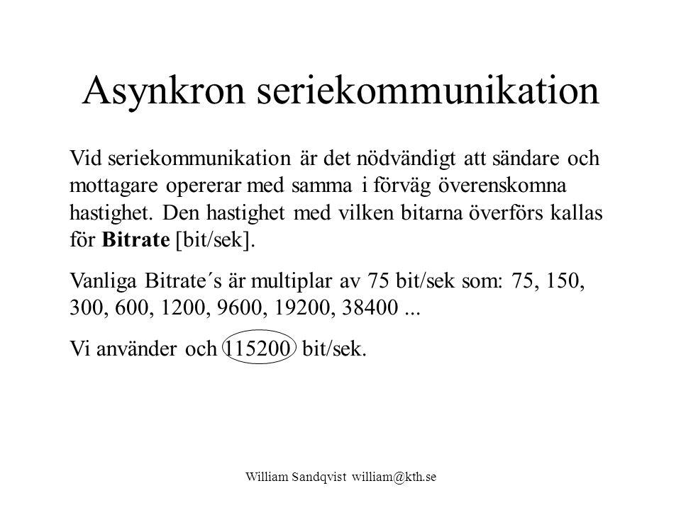 William Sandqvist william@kth.se Asynkron seriekommunikation Vid seriekommunikation är det nödvändigt att sändare och mottagare opererar med samma i f