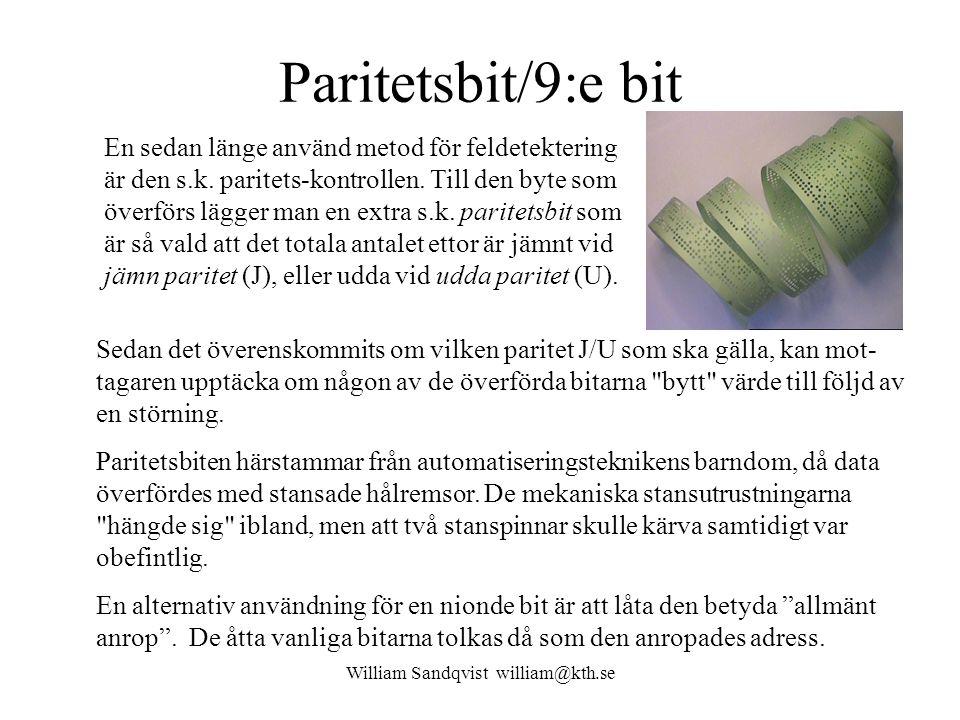 William Sandqvist william@kth.se Paritetsbit/9:e bit En sedan länge använd metod för feldetektering är den s.k. paritets-kontrollen. Till den byte som