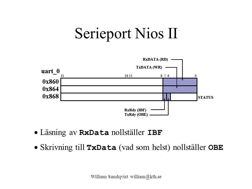 William Sandqvist william@kth.se Serieport Nios II  Läsning av RxData nollställer IBF  Skrivning till TxData (vad som helst) nollställer OBE