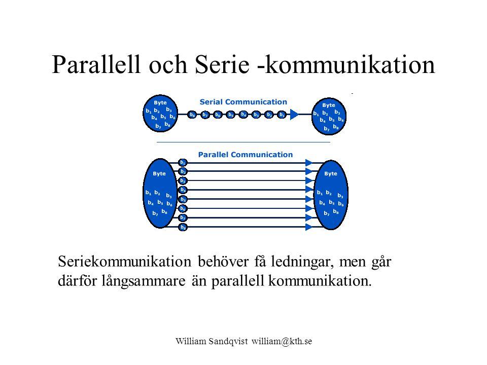 William Sandqvist william@kth.se Parallell och Serie -kommunikation Seriekommunikation behöver få ledningar, men går därför långsammare än parallell k