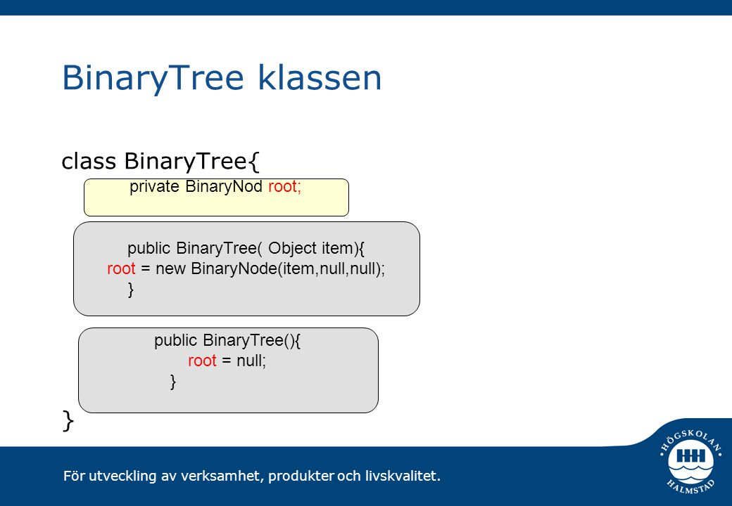 För utveckling av verksamhet, produkter och livskvalitet. BinaryTree klassen class BinaryTree{ } private BinaryNod root; public BinaryTree( Object ite