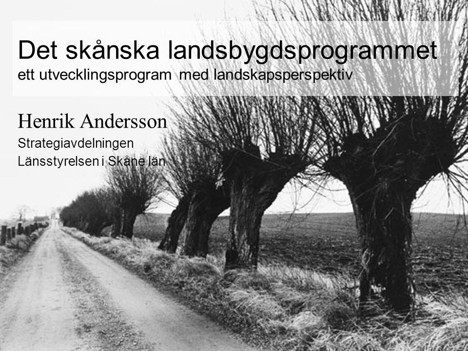 Det skånska landsbygdsprogrammet ett utvecklingsprogram med landskapsperspektiv Henrik Andersson Strategiavdelningen Länsstyrelsen i Skåne län