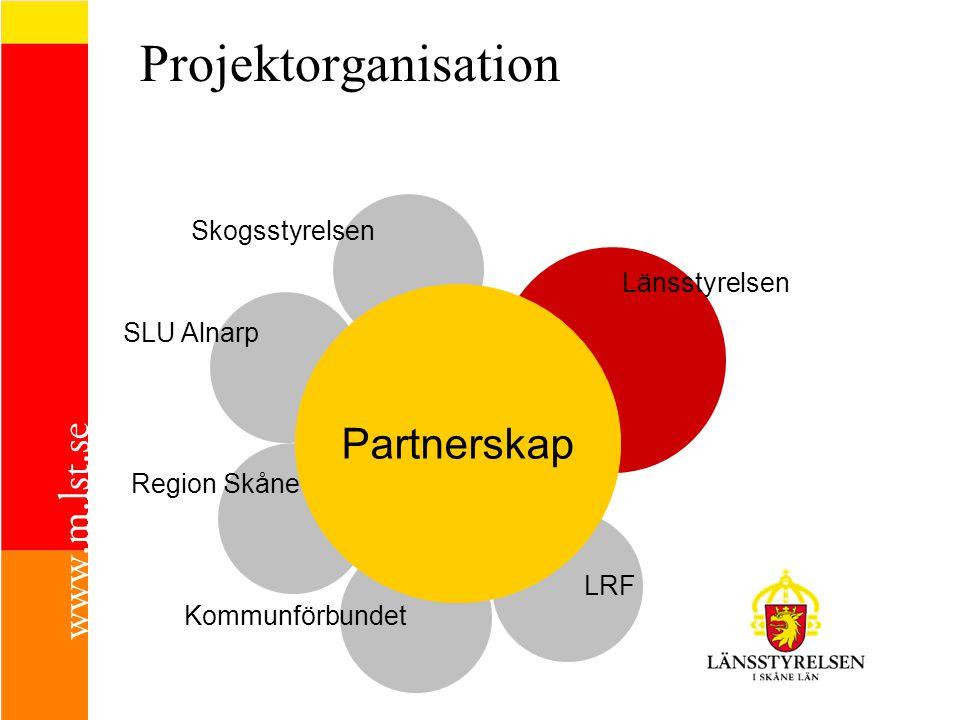 SLU Alnarp Projektorganisation Skogsstyrelsen Region Skåne Kommunförbundet LRF Länsstyrelsen Partnerskap
