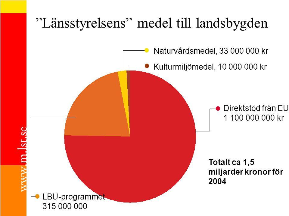 Länsstyrelsens medel till landsbygden Direktstöd från EU 1 100 000 000 kr LBU-programmet 315 000 000 Naturvårdsmedel, 33 000 000 kr Kulturmiljömedel, 10 000 000 kr Totalt ca 1,5 miljarder kronor för 2004