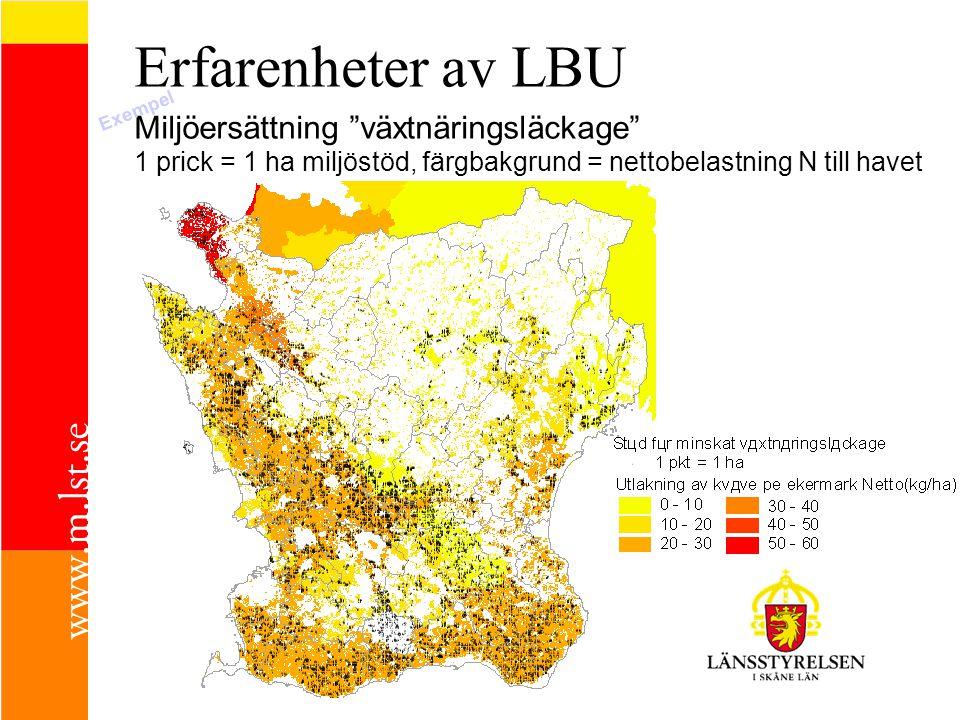 Erfarenheter av LBU Miljöersättning växtnäringsläckage 1 prick = 1 ha miljöstöd, färgbakgrund = nettobelastning N till havet Exempel