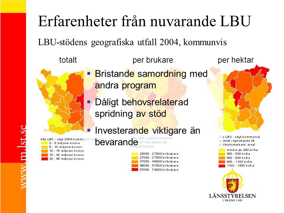 Erfarenheter från nuvarande LBU LBU-stödens geografiska utfall 2004, kommunvis totaltper brukareper hektar  Bristande samordning med andra program  Dåligt behovsrelaterad spridning av stöd  Investerande viktigare än bevarande