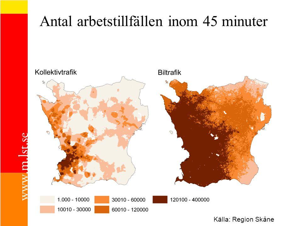 Antal arbetstillfällen inom 45 minuter Källa: Region Skåne