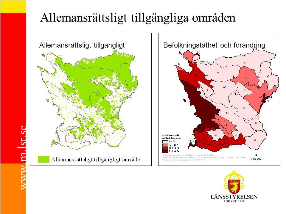 Allemansrättsligt tillgängliga områden Allemansrättsligt tillgängligtBefolkningstäthet och förändring