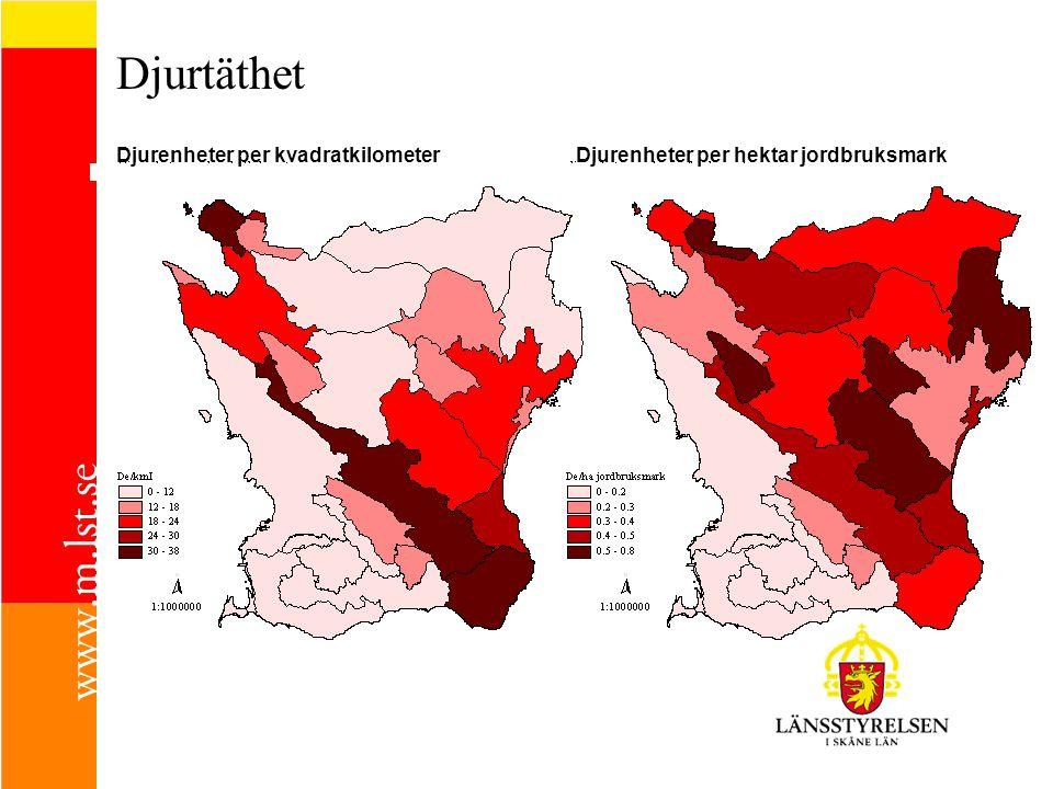 Djurtäthet Djurenheter per kvadratkilometerDjurenheter per hektar jordbruksmark