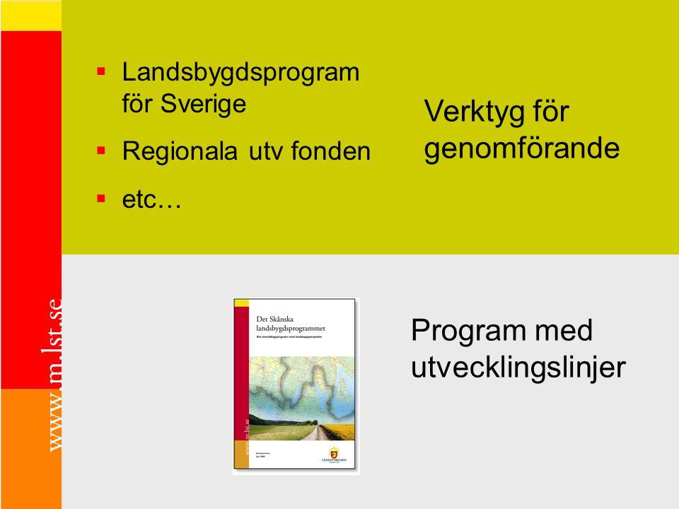 Program med utvecklingslinjer Verktyg för genomförande  Landsbygdsprogram för Sverige  Regionala utv fonden  etc…