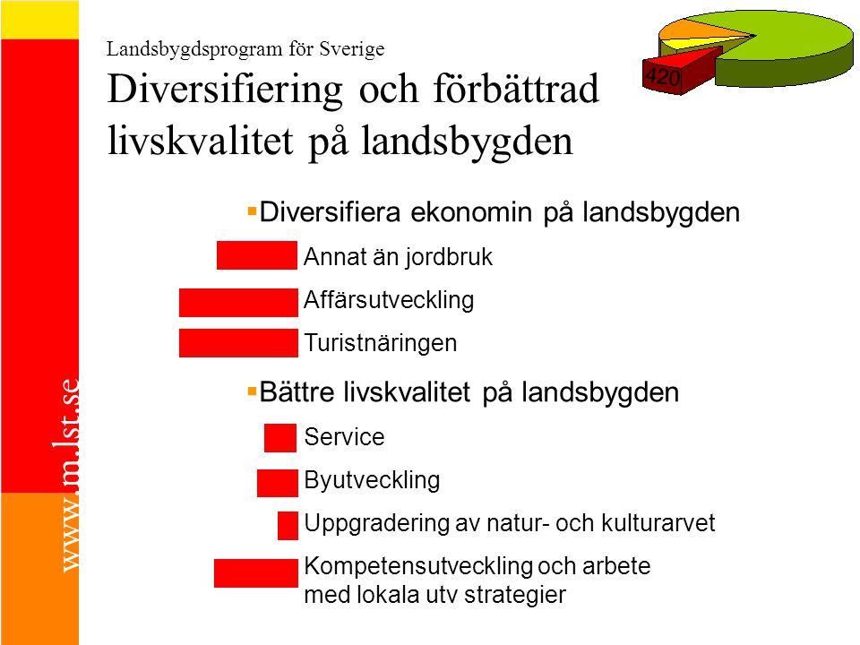 Landsbygdsprogram för Sverige Diversifiering och förbättrad livskvalitet på landsbygden 420  Diversifiera ekonomin på landsbygden Annat än jordbruk Affärsutveckling Turistnäringen  Bättre livskvalitet på landsbygden Service Byutveckling Uppgradering av natur- och kulturarvet Kompetensutveckling och arbete med lokala utv strategier
