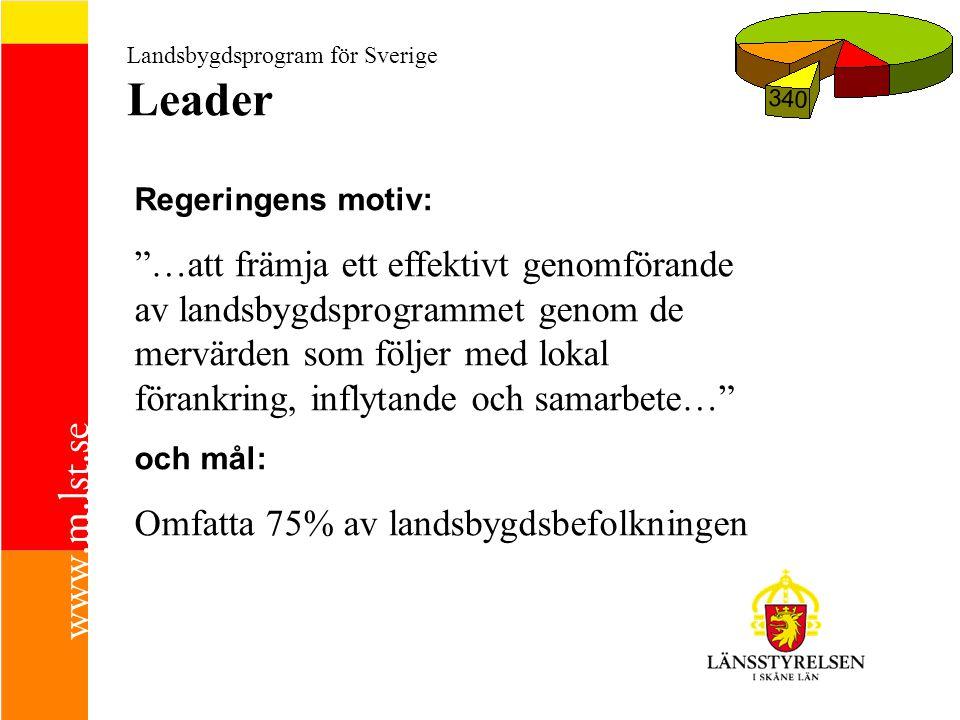 Landsbygdsprogram för Sverige Leader 340 Regeringens motiv: …att främja ett effektivt genomförande av landsbygdsprogrammet genom de mervärden som följer med lokal förankring, inflytande och samarbete… och mål: Omfatta 75% av landsbygdsbefolkningen