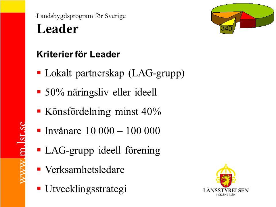 Landsbygdsprogram för Sverige Leader 340 Kriterier för Leader  Lokalt partnerskap (LAG-grupp)  50% näringsliv eller ideell  Könsfördelning minst 40%  Invånare 10 000 – 100 000  LAG-grupp ideell förening  Verksamhetsledare  Utvecklingsstrategi