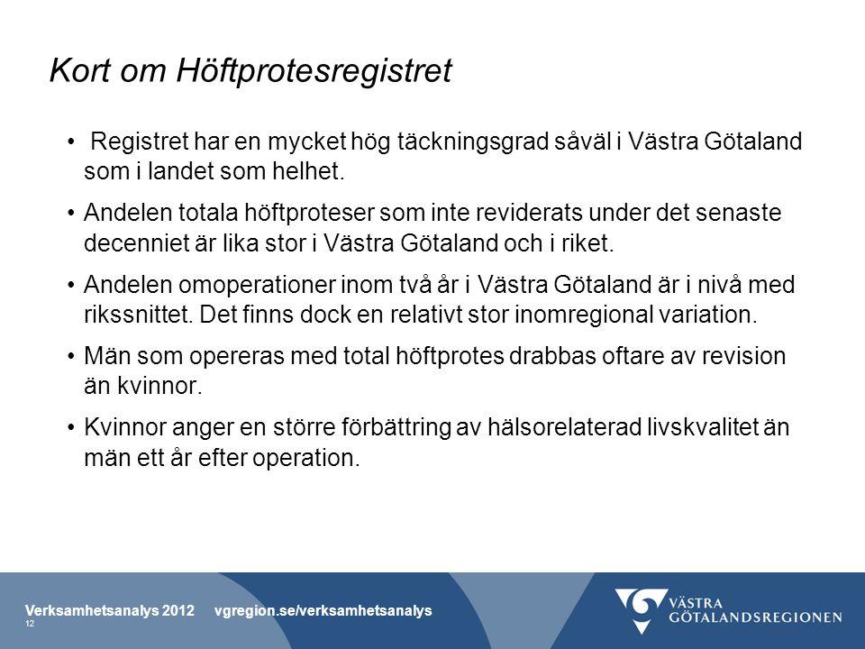 Kort om Höftprotesregistret Registret har en mycket hög täckningsgrad såväl i Västra Götaland som i landet som helhet. Andelen totala höftproteser som