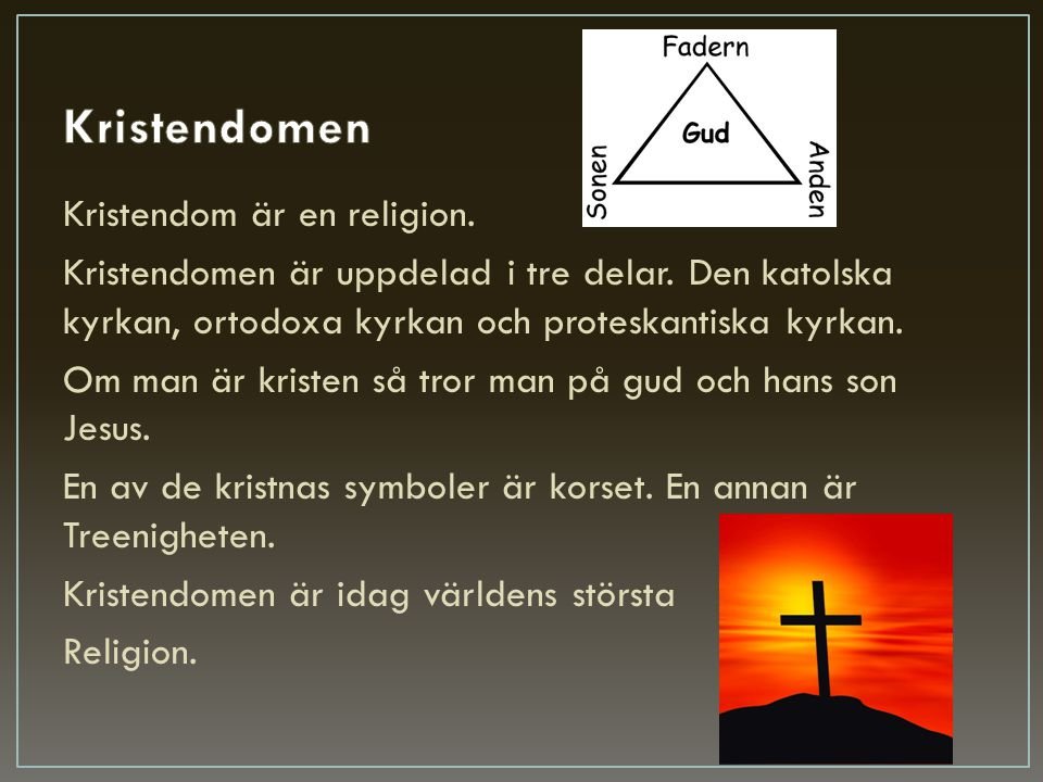 Kristendom är en religion. Kristendomen är uppdelad i tre delar. Den katolska kyrkan, ortodoxa kyrkan och proteskantiska kyrkan. Om man är kristen så