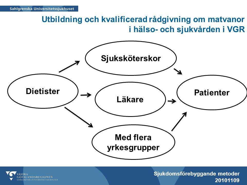 Sjukdomsförebyggande metoder 20101109 Utbildning och kvalificerad rådgivning om matvanor i hälso- och sjukvården i VGR Dietister Patienter Med flera yrkesgrupper Läkare Sjuksköterskor