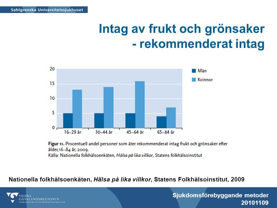 Sjukdomsförebyggande metoder 20101109 Intag av frukt och grönsaker - rekommenderat intag Nationella folkhälsoenkäten, Hälsa på lika villkor, Statens F