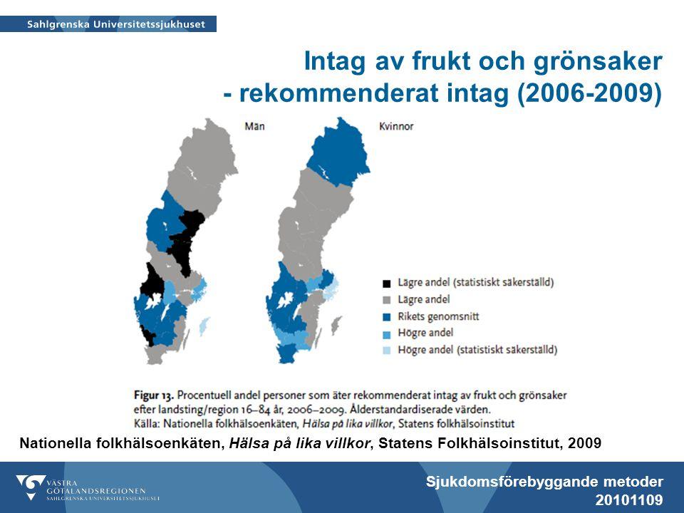 Sjukdomsförebyggande metoder 20101109 Nationella folkhälsoenkäten, Hälsa på lika villkor, Statens Folkhälsoinstitut, 2009 Intag av frukt och grönsaker - rekommenderat intag (2006-2009)