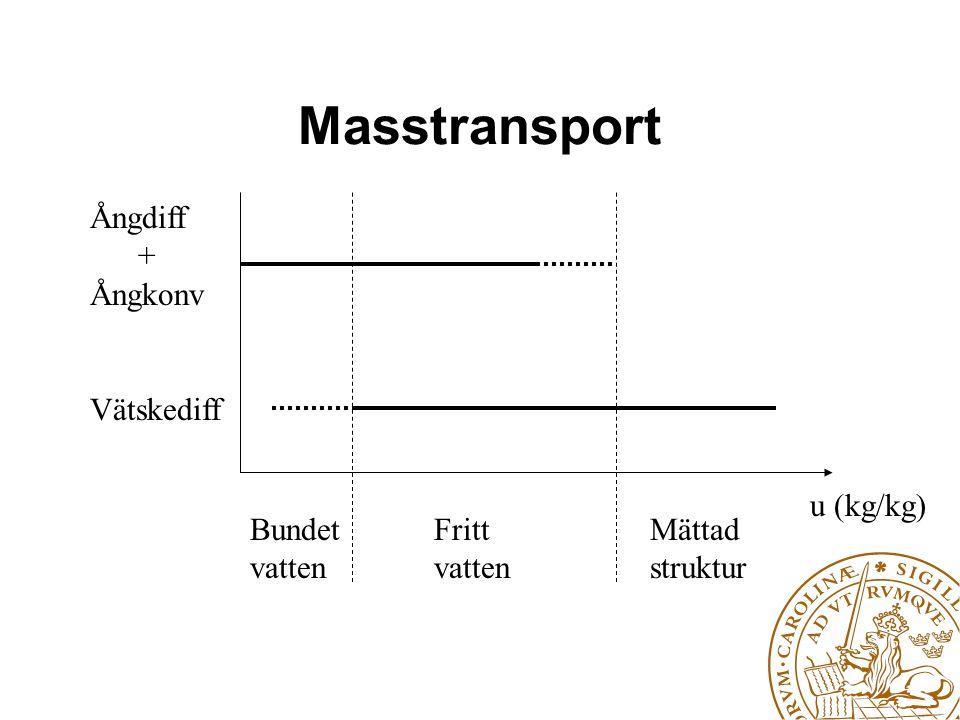 Masstransport u (kg/kg) Bundet vatten Fritt vatten Mättad struktur Ångdiff + Ångkonv Vätskediff