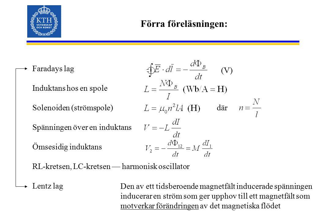 Förra föreläsningen: Faradays lag Induktans hos en spole Solenoiden (strömspole) Spänningen över en induktans Ömsesidig induktans RL-kretsen, LC-krets