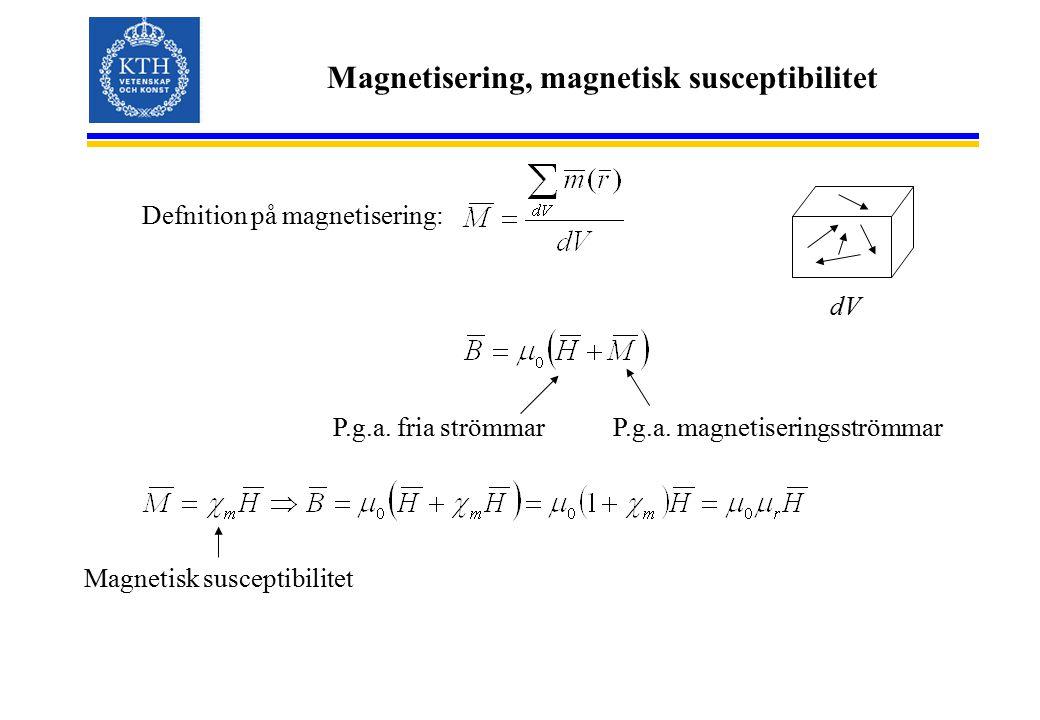 Magnetisering, magnetisk susceptibilitet Defnition på magnetisering: dV P.g.a. fria strömmarP.g.a. magnetiseringsströmmar Magnetisk susceptibilitet