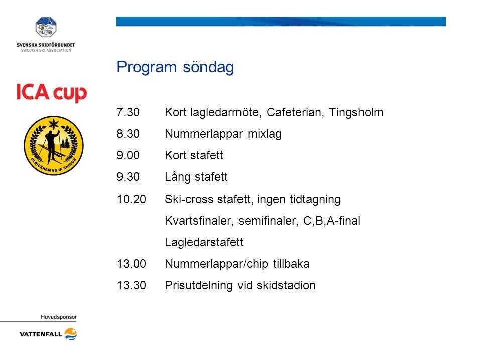 Program söndag 7.30Kort lagledarmöte, Cafeterian, Tingsholm 8.30Nummerlappar mixlag 9.00Kort stafett 9.30Lång stafett 10.20Ski-cross stafett, ingen ti