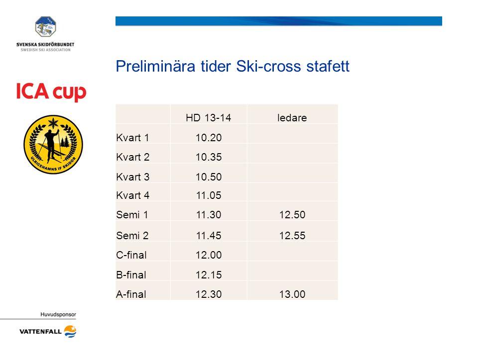 Preliminära tider Ski-cross stafett HD 13-14ledare Kvart 110.20 Kvart 210.35 Kvart 310.50 Kvart 411.05 Semi 111.3012.50 Semi 211.4512.55 C-final12.00 B-final12.15 A-final12.3013.00