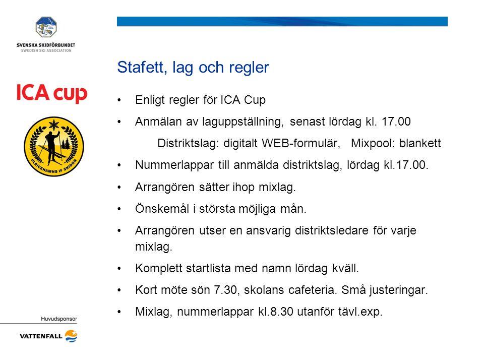 Stafett, lag och regler Enligt regler för ICA Cup Anmälan av laguppställning, senast lördag kl. 17.00 Distriktslag: digitalt WEB-formulär, Mixpool: bl