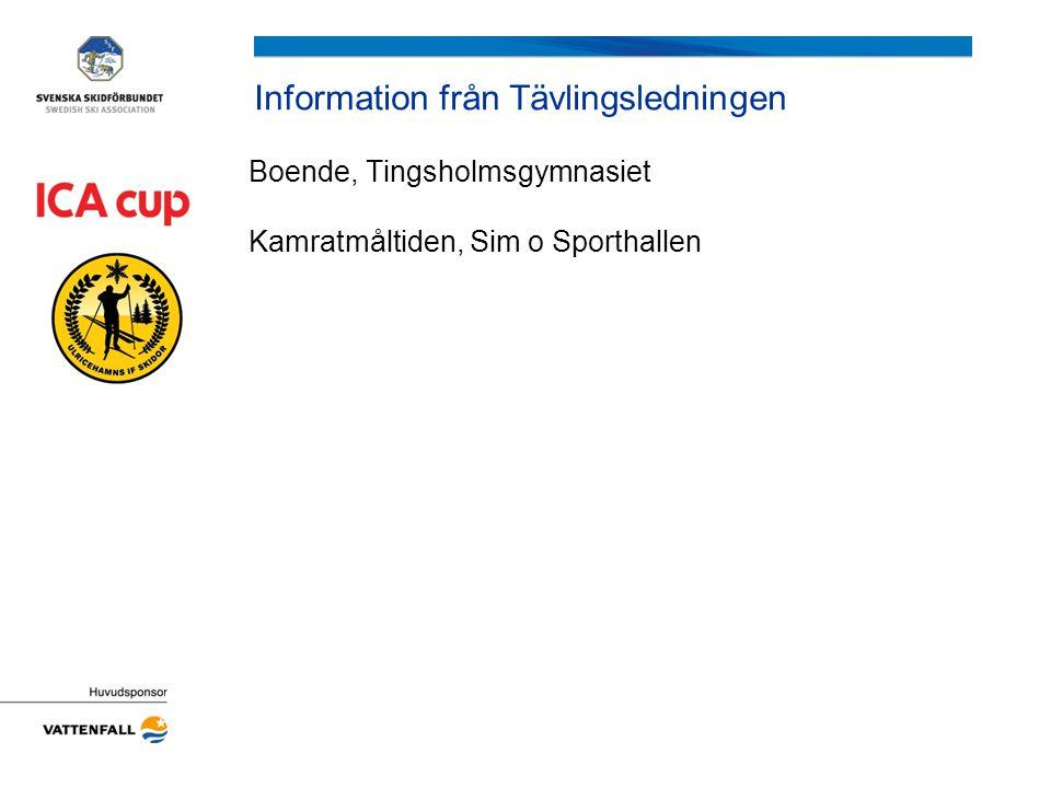 Information från Tävlingsledningen Boende, Tingsholmsgymnasiet Kamratmåltiden, Sim o Sporthallen