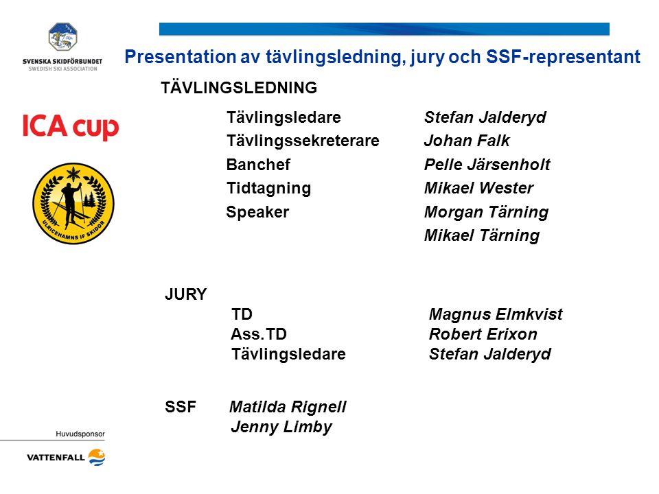 Presentation av tävlingsledning, jury och SSF-representant JURY TDMagnus Elmkvist Ass.TDRobert Erixon TävlingsledareStefan Jalderyd SSF Matilda Rignel