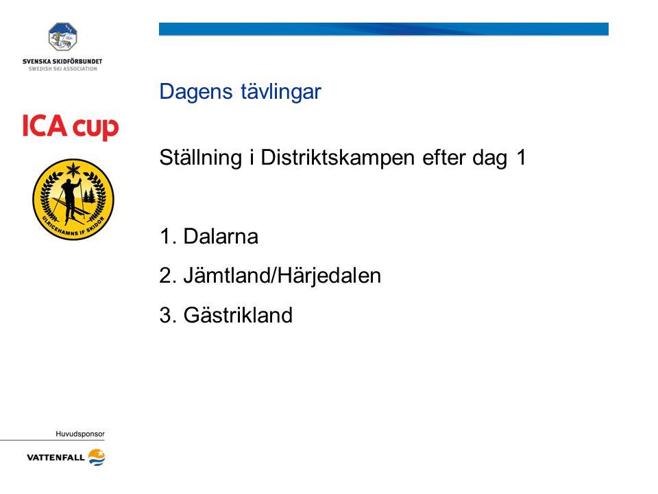 Dagens tävlingar Ställning i Distriktskampen efter dag 1 1. Dalarna 2. Jämtland/Härjedalen 3. Gästrikland