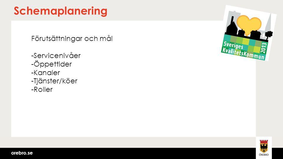 orebro.se Schemaplanering Förutsättningar och mål -Servicenivåer -Öppettider -Kanaler -Tjänster/köer -Roller