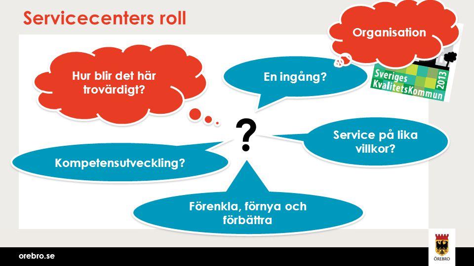 orebro.se Servicecenters roll Hur blir det här trovärdigt? Service på lika villkor? En ingång? Kompetensutveckling? Förenkla, förnya och förbättra ? O