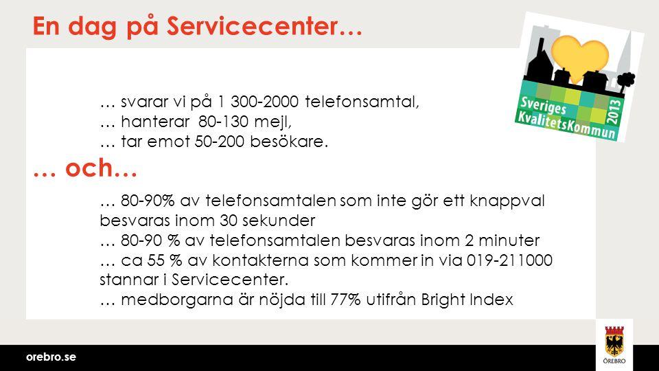 orebro.se En dag på Servicecenter… … svarar vi på 1 300-2000 telefonsamtal, … hanterar 80-130 mejl, … tar emot 50-200 besökare. … 80-90% av telefonsam