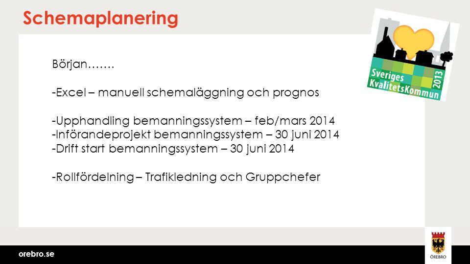 orebro.se Schemaplanering Början……. -Excel – manuell schemaläggning och prognos -Upphandling bemanningssystem – feb/mars 2014 -Införandeprojekt bemann