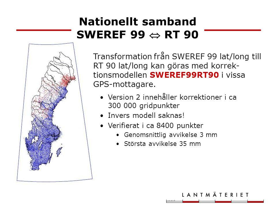 Transformation från SWEREF 99 lat/long till RT 90 lat/long kan göras med korrek- tionsmodellen SWEREF99RT90 i vissa GPS-mottagare. Version 2 innehålle