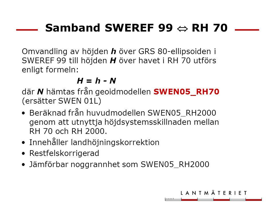 Samband SWEREF 99  RH 70 Omvandling av höjden h över GRS 80-ellipsoiden i SWEREF 99 till höjden H över havet i RH 70 utförs enligt formeln: H = h - N