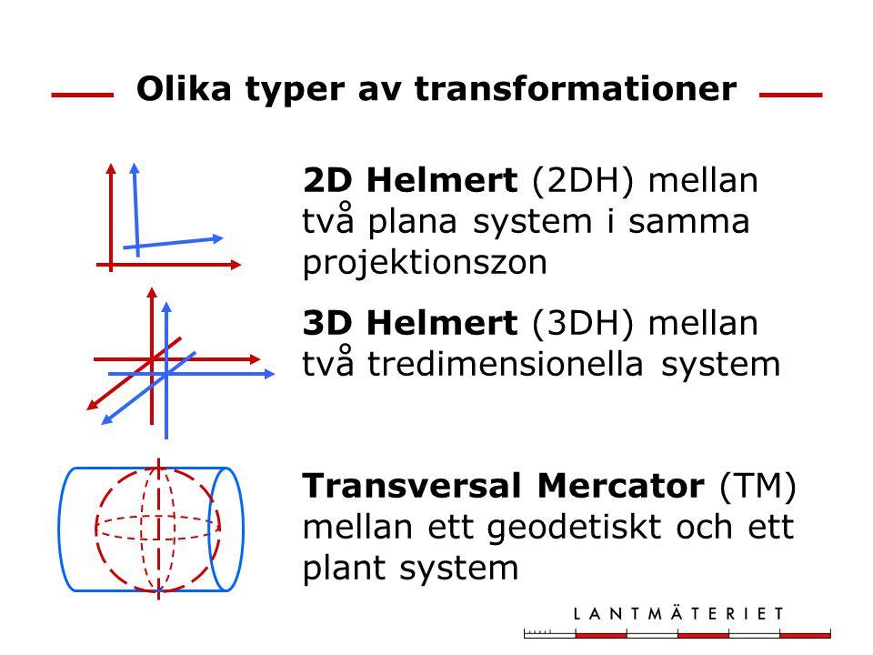 Olika typer av transformationer 2D Helmert (2DH) mellan två plana system i samma projektionszon 3D Helmert (3DH) mellan två tredimensionella system Tr
