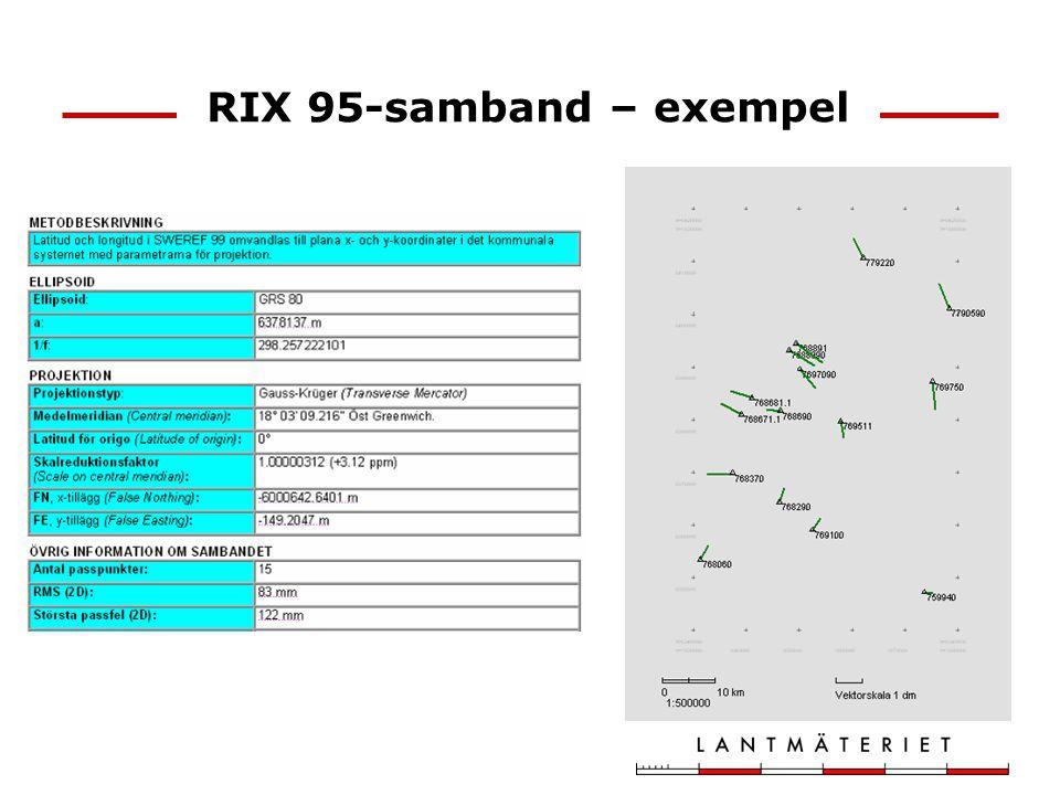 Mätning i inhomogena system – lokal inpassning Mät in några kända punkter i anslutning till mätområdet Beräkna transformations- parametrar (normalt plan Helmerttransformation) Transformera mätningarna Beräkningen kan göras i GPS-utrustningen