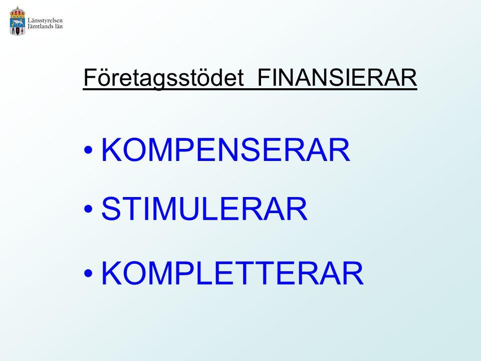 Företagsstödet FINANSIERAR KOMPENSERAR STIMULERAR KOMPLETTERAR