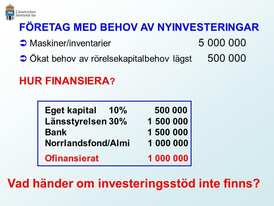 FÖRETAG MED BEHOV AV NYINVESTERINGAR  Maskiner/inventarier a5 000 000  Ökat behov av rörelsekapitalbehov lägst 500 000 Vad händer om investeringsstöd inte finns.
