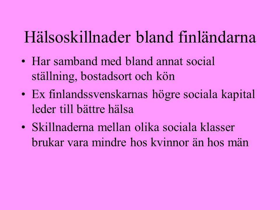 Hälsoskillnader bland finländarna Har samband med bland annat social ställning, bostadsort och kön Ex finlandssvenskarnas högre sociala kapital leder till bättre hälsa Skillnaderna mellan olika sociala klasser brukar vara mindre hos kvinnor än hos män