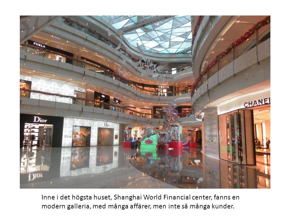 Inne i det högsta huset, Shanghai World Financial center, fanns en modern galleria, med många affärer, men inte så många kunder.