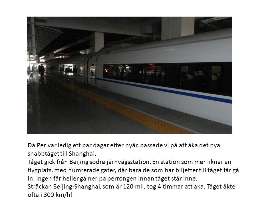 Då Per var ledig ett par dagar efter nyår, passade vi på att åka det nya snabbtåget till Shanghai.