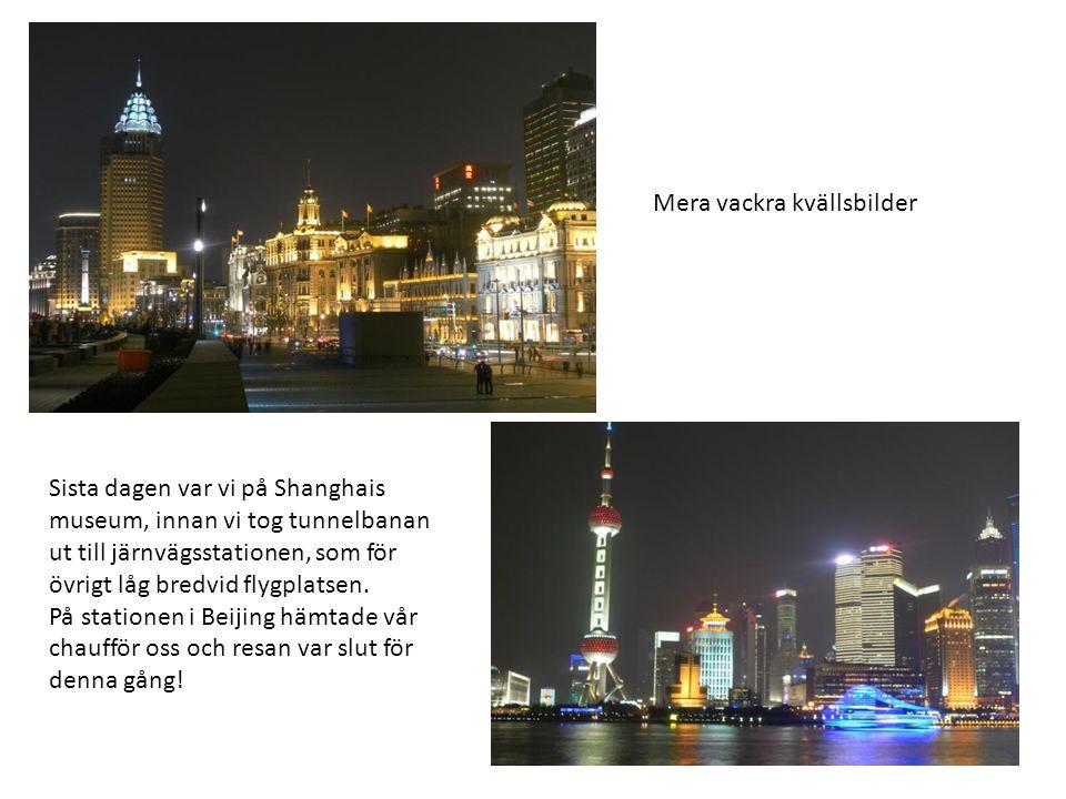 Mera vackra kvällsbilder Sista dagen var vi på Shanghais museum, innan vi tog tunnelbanan ut till järnvägsstationen, som för övrigt låg bredvid flygplatsen.